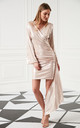 Wrap Style Occasion Mini Dress with long sleeves In Metallic Rose Gold by Jenerique