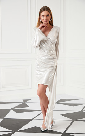 Wrap Style Occasion long sleeves Mini Dress In Metallic Ivory by Jenerique