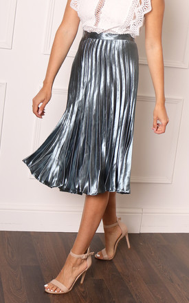 Metallic Satin Pleated High Waisted Midi Skirt in Soft Teal by One Nation Clothing