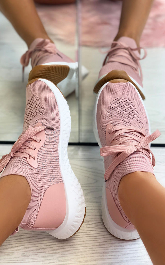 Taliyah Knitted Sock Trainers in Pink by Larena Fashion