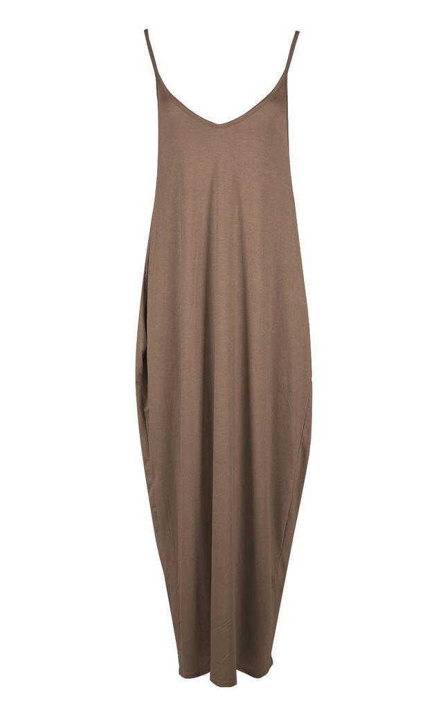 Mocha Strappy Basic Jersey Slinky Maxi Dress by Oops Fashion
