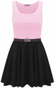Colour Block Sleeveless Skater Dress In Baby Pink by Oops Fashion