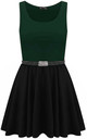 Colour Block Sleeveless Skater Dress In Bottle Green by Oops Fashion