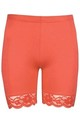 Coral Jersey Cycle Shorts with Lace Trim by Oops Fashion