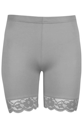 Grey Jersey Cycle Shorts with Lace Trim by Oops Fashion