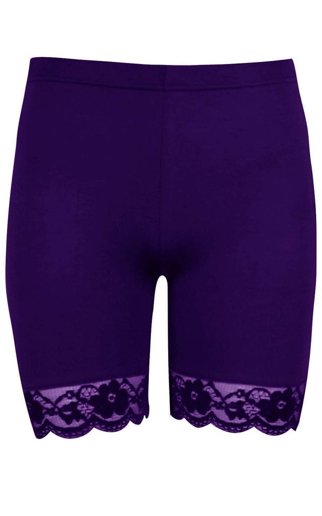 Purple Jersey Cycle Shorts with Lace Trim by Oops Fashion