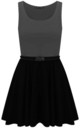 Colour Block Sleeveless Skater Dress In Charcoal by Oops Fashion