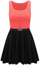 Colour Block Sleeveless Skater Dress In Coral by Oops Fashion
