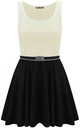 Colour Block Sleeveless Skater Dress In Cream by Oops Fashion