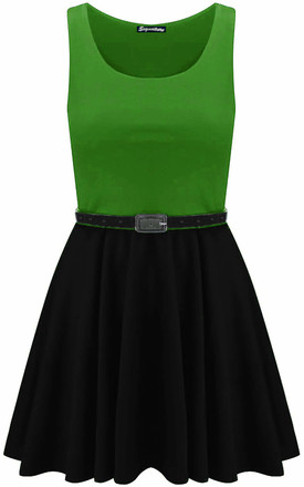 Colour Block Sleeveless Skater Dress In Jade Green by Oops Fashion