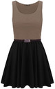 Colour Block Sleeveless Skater Dress In Mocha by Oops Fashion