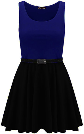 Colour Block Sleeveless Skater Dress In Navy by Oops Fashion
