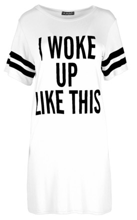 I Woke Up Like This Slogan Night Dress in White by Oops Fashion