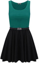 Colour Block Sleeveless Skater Dress In Teal by Oops Fashion