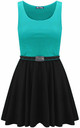 Colour Block Sleeveless Skater Dress In Turquoise by Oops Fashion