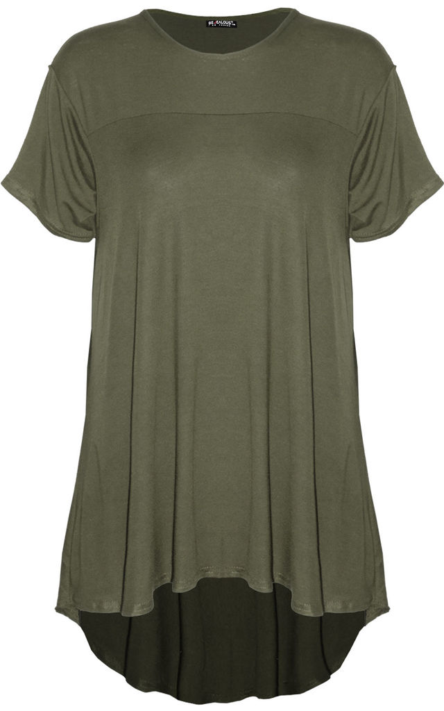 Dipped Hem Oversized T-shirt in Khaki by Oops Fashion