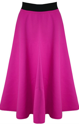 High Waisted Midi Scuba Skater Skirt In Cerise by Oops Fashion