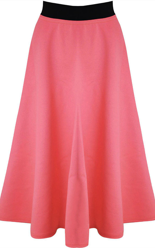 High Waisted Midi Scuba Skater Skirt In Coral by Oops Fashion