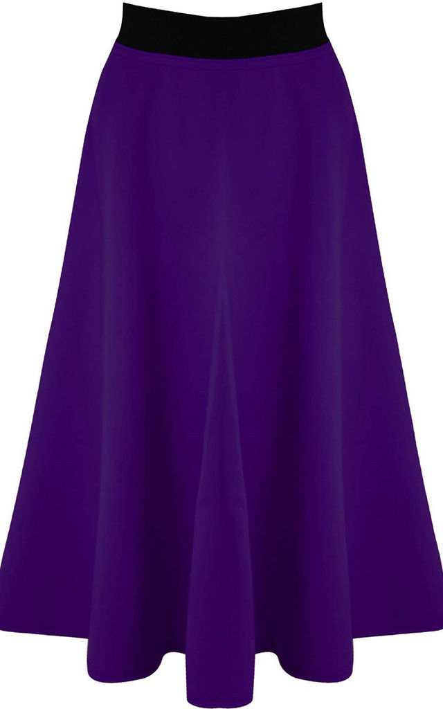 High Waisted Midi Scuba Skater Skirt In Purple by Oops Fashion