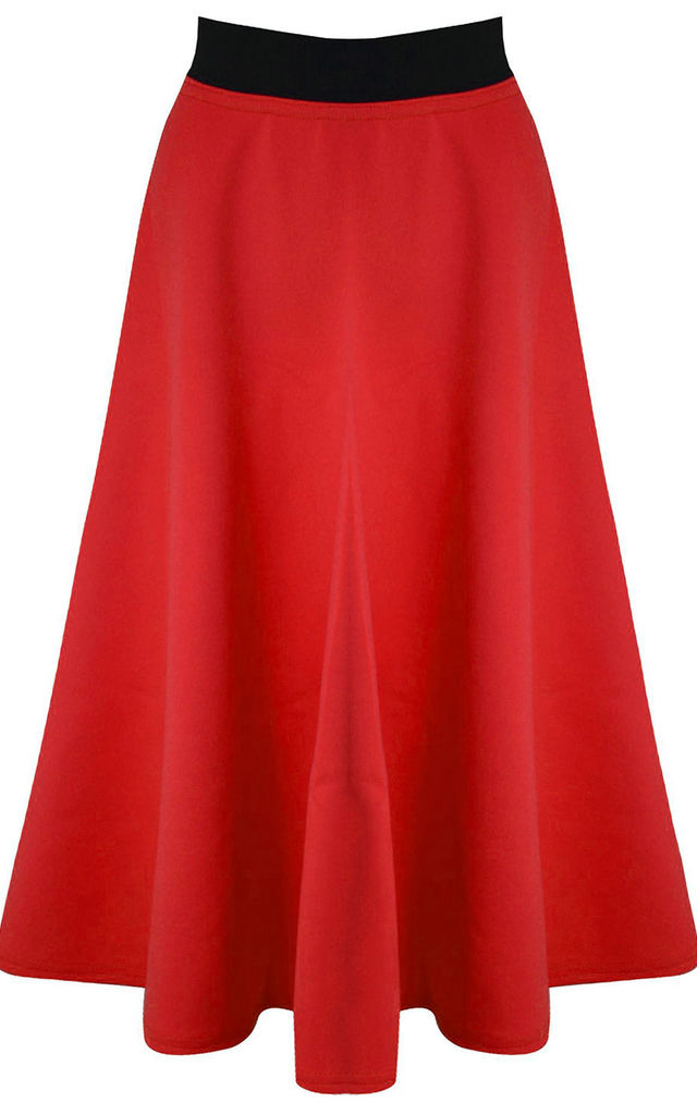 High Waisted Midi Scuba Skater Skirt In Red by Oops Fashion