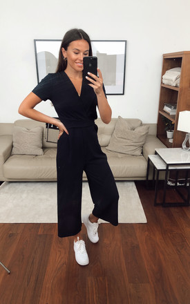 Exclusive Megan Short Sleeve Culotte Jumpsuit In Navy by Girl In Mind Product photo