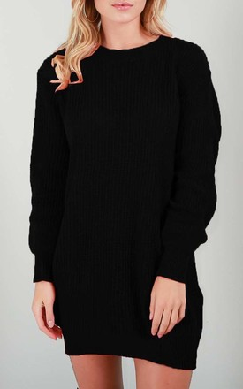 Long Sleeve Knitted Jumper Dress in Black by Oops Fashion