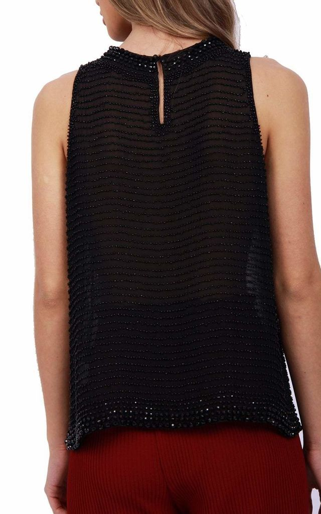 EMBELLISHED BEADED HALTER NECK SLEEVELESS TOP IN BLACK by LOES House