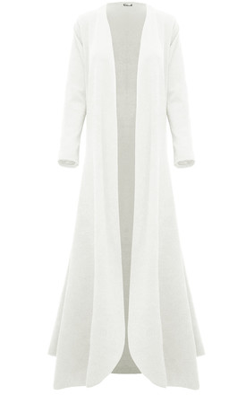Long Sleeve Waterfall Maxi Jacket in Cream by Oops Fashion