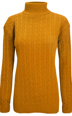 Roll Neck Cable Knit Jumper In Mustard by Oops Fashion