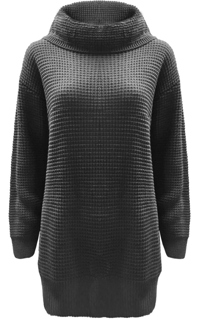 Eva Long Sleeve Roll Neck Knitted Dress in Charcoal Marl by Oops Fashion