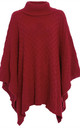 Alissia Roll Neck Knitted Poncho In Red by Oops Fashion