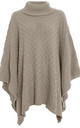Alissia Roll Neck Knitted Poncho In Stone by Oops Fashion