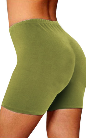 High Waisted Jersey Cycle Shorts in Khaki by Oops Fashion