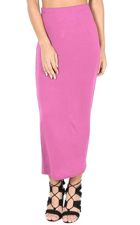 High Waisted Jersey Maxi Skirt In Rose by Oops Fashion