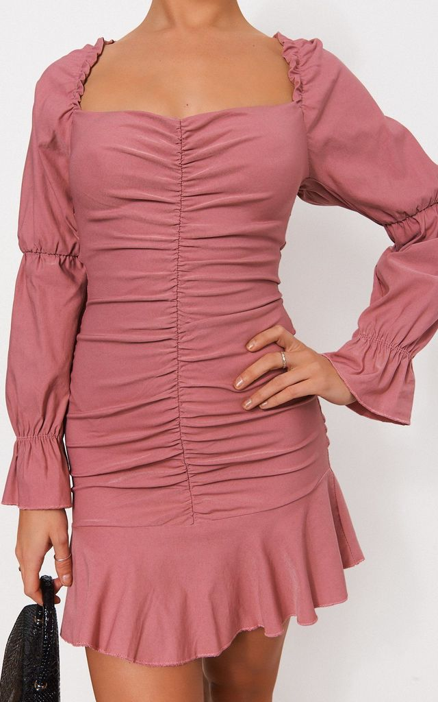 Pink Puff Sleeve Frill Hem Mini Dress by TFB