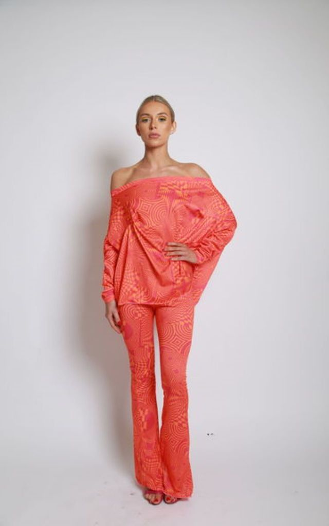 Orange Psych Circle top and Bell bottom Trouser suit by Mccullock Women