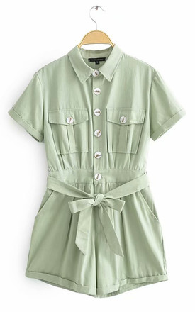 Mint Button Down Playsuit by FS Collection