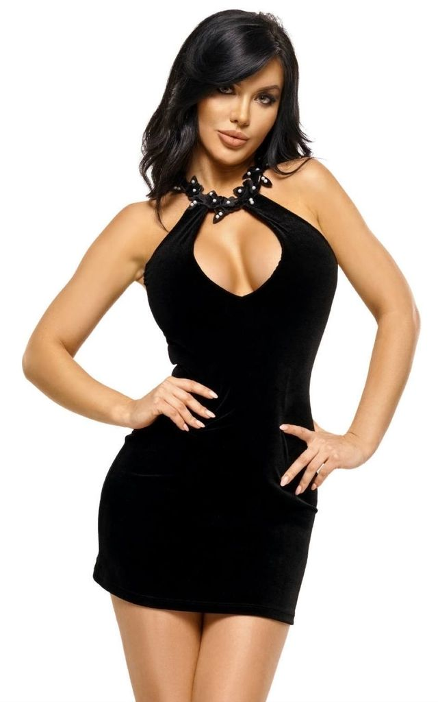 Black Velour Mini Dress with Pearl Neckline by BB Lingerie
