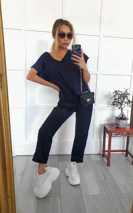 Navy Blue V Neck Two piece Loungewear set | Top & joggers by GIGILAND UK