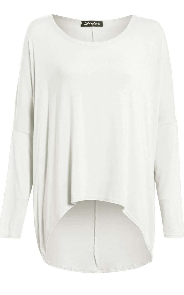 Long Sleeve Round Neck Baggy Cream Top by Oops Fashion