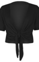 Tie Front Basic Jersey Short Sleeve Shrug In Black by Oops Fashion