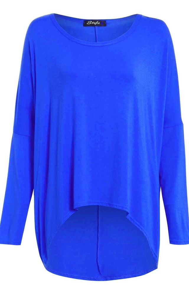 Long Sleeve Round Neck Baggy Royal Blue Top by Oops Fashion