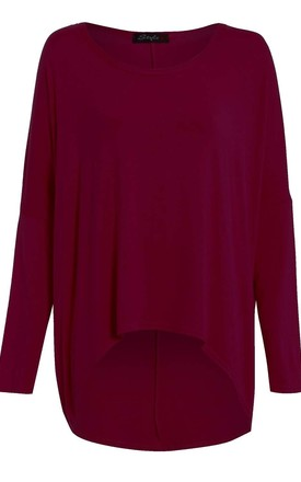 Long Sleeve Round Neck Baggy Wine Top by Oops Fashion
