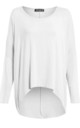 Long Sleeve Round Neck Baggy White Top by Oops Fashion