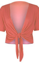 Tie Front Basic Jersey Short Sleeve Shrug In Coral by Oops Fashion