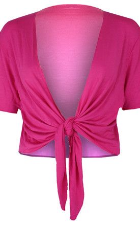 Tie Front Basic Jersey Short Sleeve Shrug In Cerise by Oops Fashion