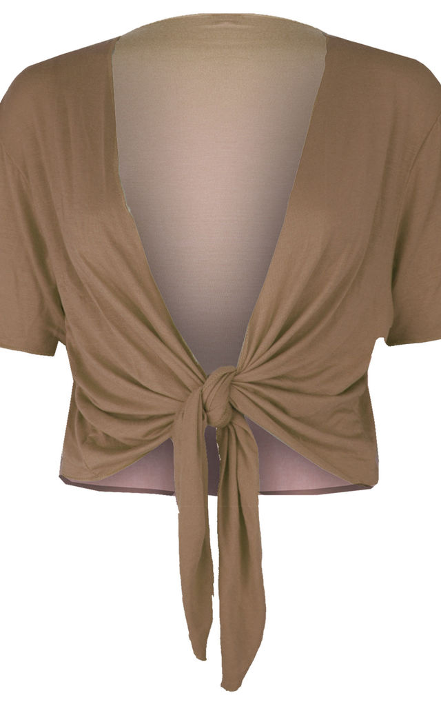 Tie Front Basic Jersey Short Sleeve Shrug In Mocha by Oops Fashion