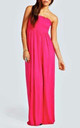 Ruched Bandeau Jersey Maxi Dress Cerise by Oops Fashion