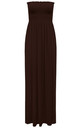 Ruched Bandeau Jersey Maxi Dress Chocolate Brown by Oops Fashion