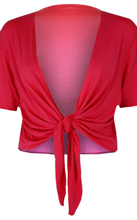 Tie Front Basic Jersey Short Sleeve Shrug In Red by Oops Fashion